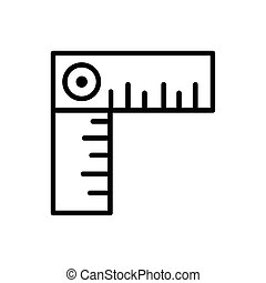 square ruler architecture icon line style