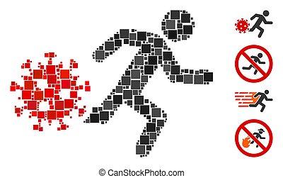 Square Running Man from Coronavirus Icon Vector Mosaic