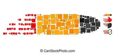 Square Rush Bullet Icon Vector Mosaic