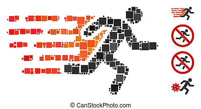 Square Rush Running Man Icon Vector Collage
