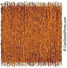 Square rustic grunge striped weave mat with fringe in orange,  brown colors isolated on white background
