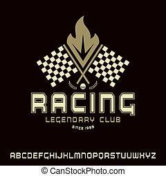 Square sanserif font in racing style