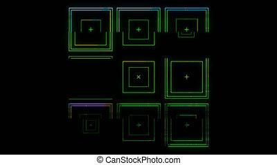 Square Set Element Effect Glitch Colour on Transparent Background. High Quality 4k Footage