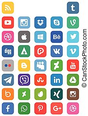 Social Media - Square shape Social Media Icon Collection