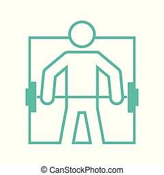 Square Shape Weightlifting Sport Figure Outline Symbol Vector Illustration
