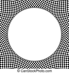 Square shaped checkerboard pattern background, with blank circle