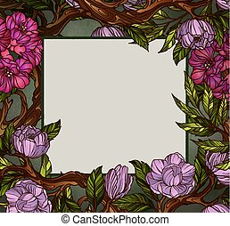 Square shaped greeting card template decorated with flowers and leaves