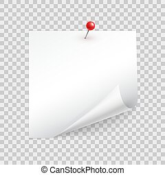 Square sheet of paper with a curled corner pins with a pushpin realistic vector template for messages