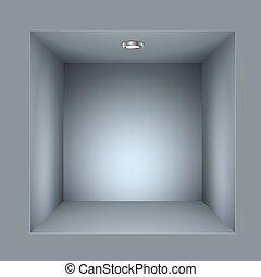 Square shelf illuminated vector template.
