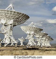 Square shot of satellite dishes