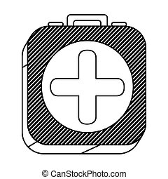 square silhouette button with contour first aid kit