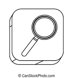 square silhouette button with contour magnifying glass