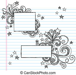 Square Sketchy Frames with Stars - Hand-Drawn Borders with...