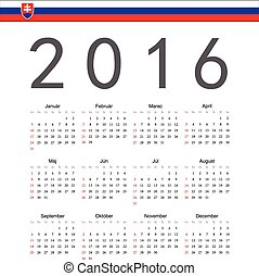 Square Slovak 2016 year vector calendar. Week starts from Sunday.