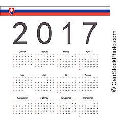 Square Slovak 2017 year vector calendar. Week starts from Sunday.