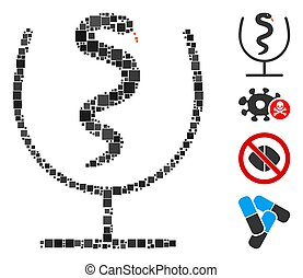 Square Snake Poison Icon Vector Mosaic - Mosaic Snake poison...