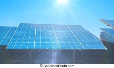 """Square solar panels revolting to the sun """