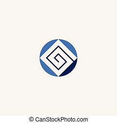 square spiral abstract business logo