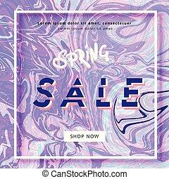Square Spring Sale banner. Vector illustration.