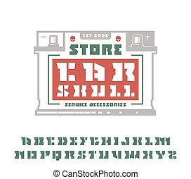 Square stencil-plate serif font and car service emblem