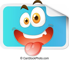 Square sticker with happy face