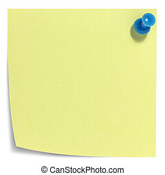 Square sticky note with blue pin