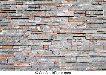 Square stone wall far