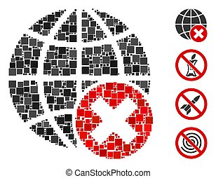 Square Stop Globalization Icon Vector Collage - Mosaic Stop ...