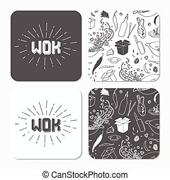 Square table coaster templates set with doodle wok noodles pattern and logo template and sunburst. Hand drawn table accessory template. Monochrome hipster style lettering. Vector illustration