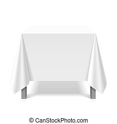 Square table covered with white tablecloth