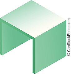 Square table icon, isometric style