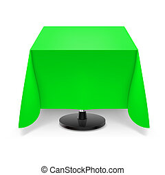Square table with green tablecloth.