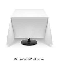 Square table with white tablecloth. - Square dining table...