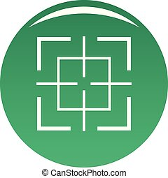Square target icon vector green