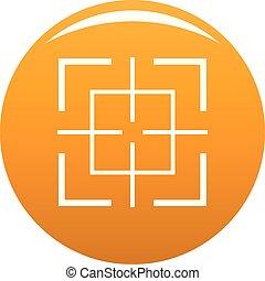 Square target icon vector orange