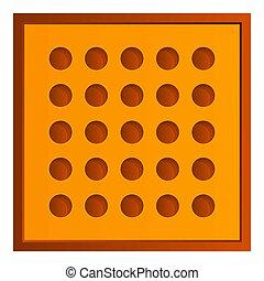 Square tea biscuit icon, cartoon style