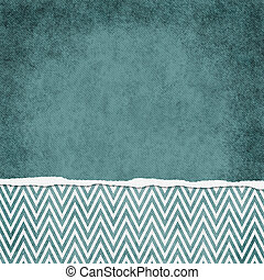 Square Teal and White Zigzag Chevron Torn Grunge Textured...