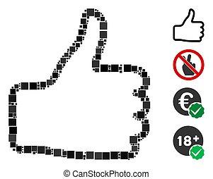 Square Thumb Up Icon Vector Mosaic
