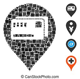 Square Tickets Map Marker Icon Vector Collage