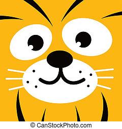 square tiger face icon button