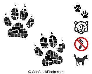 Square Tiger Footprints Icon Vector Mosaic