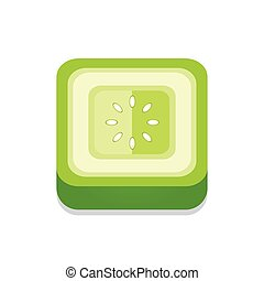square Tomato 3D Button Design Green color