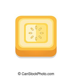 square Tomato 3D Button Design