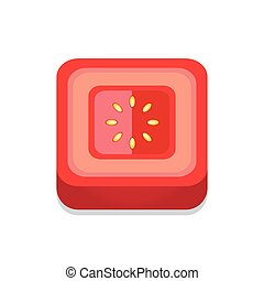 square Tomato 3D Button Design Red color