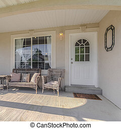 Square Traditional home veranda and deck with no people