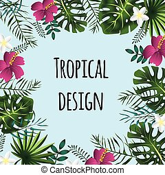 Square tropical frame, template with place for text. Vector illustration, isolated.