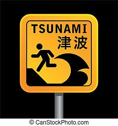 tsunami warining sign - square tsunami warining sign...