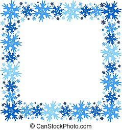 Square vector winter frame of snowflakes. Isolated.