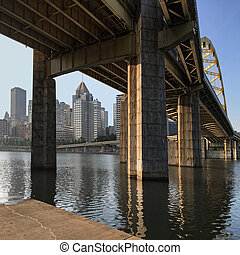 Square view of bridge and Pittsburgh skyline