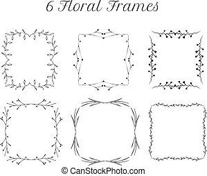 square vintage floral frames